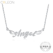 Coleon Sterling Silver 925 Angel Letter Pendant Necklace Long Link Chain Various Gemstones Romantic Women Valentines Day Jewelry