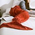 80x180 CM Hecho A Mano de Punto Manta de Mantener A Las Mujeres Calientes del ganchillo Mermaid Tail sirena manta adultos camas tiro Wrap Niños saco de dormir
