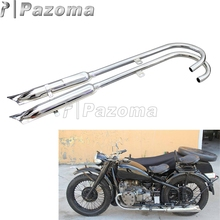 Motorcycle Fishtail Front & Rear Muffler Moto 24HP Exhaust Mufflers Pipes for BMW Ural K750 M1 M72 R71 R12 Dnepr MT12 Sidecar
