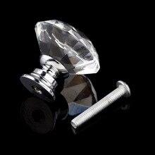 10 шт. 30 мм Алмазная форма Хрустальная стеклянная дверная ручка для мебели ящик шкаф кухня тянуть ручки шкаф