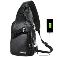 Cross-Border Explosion Models USB Mens Chest Portable Charging Leisure Crossbody Bag Outdoor Movement Pu a Generation of
