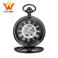 Ouyawei 2017 Steampunk Black Mechanical Pocket Watches With Chain Retro Black Skeleton Dial Men Clock Necklace