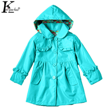 KEAIYOUHUO Spring Girls Jacket 2017 New Fashion Baby Clothes Kids Waterproof Hooded Girl Coat Children Clothing Outwear Raincoat