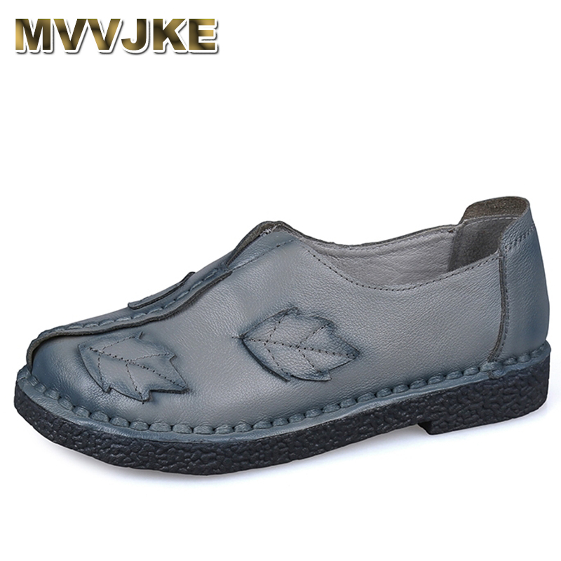 MVVJKE 2018 New Fashion Genuine Leather Handmade Women's Shoes Comfortable Casual Flat Shoes Woman Loafers Women Flats E191 2018 new genuine leather flat shoes woman ballet flats loafers cowhide flexible spring casual shoes women flats women shoes k726