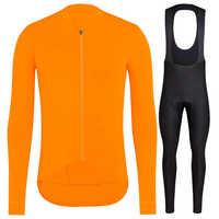 Completo ciclismo invernale Pro equipo 2018 Invierno Polar térmico de manga larga Jersey conjunto naranja MTB bicicleta maillot ciclismo