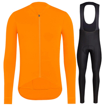 Completo ciclismo invernale Pro team 2018 winter thermal fleece long sleeve Jersey set Orange MTB bike bicycle maillot