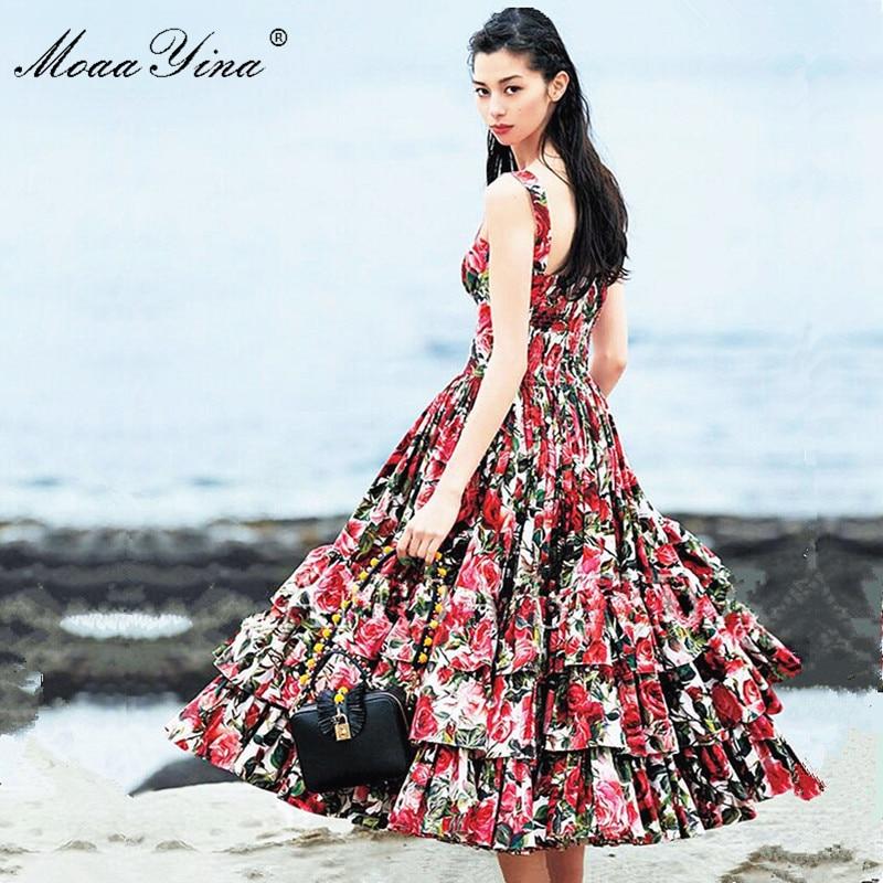 MoaaYina Fashion Designer Runway Ball Gown Dress Summer Women Spaghetti strap Backless Floral Print Cascading Ruffle Beach Dress