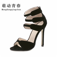 Plus Small Size Women Sandals Super Star Summer Sandals Ankle Strapy Open Toe Lady High Heels