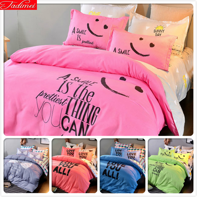 Power Source Smile Face Pink Bedclothes Kids 3/4 Pcs Bedding Sets King Queen Double Single Size Duvet Cover 1.5m 1.8m 2.0m Bedsheet Bedlinens Rich In Poetic And Pictorial Splendor