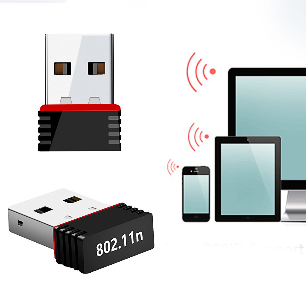 2PCS/lot Mini Wireless USB Wifi Adapter 802.11n/g/b Network Card 150Mbps USB Dongle Receiver For Laptop PC