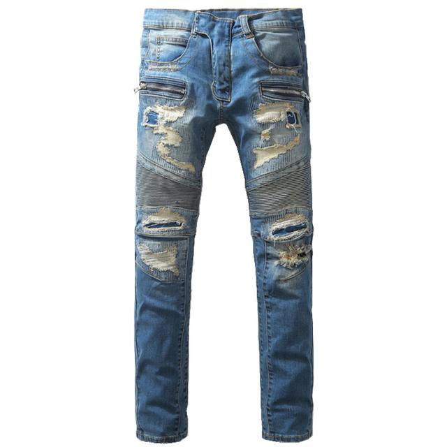 Mejor Versión Mens Fashion Slim Fit Agujero Rasgado Bálsamo Biker Jeans Homme Casual Patchwork Denim Pantalones Para Hombre Del Diseñador Azul pantalones vaqueros