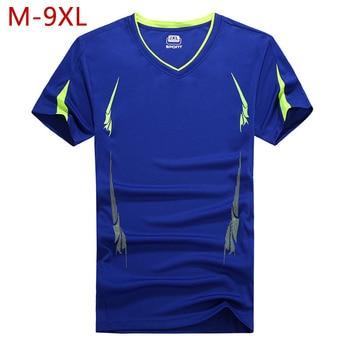 Camisetas M-9XL culturismo con cuello en V para hombre, camisetas informales de verano para hombre de talla grande, de secado rápido, para entrenamiento, gimnasios, Fitness, camisetas universitarias CF36