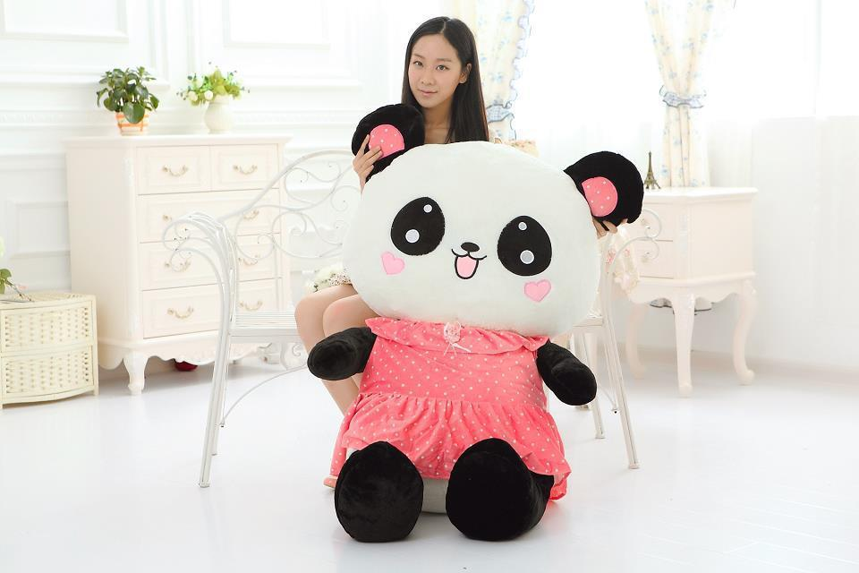 huge 100cm clothes panda plush toy cute panda hugging pillow toy,birthday gift w0499 stripes cloth design largest 90cm cartoon love panda plush toy hugging pillow toy birthday gift h770