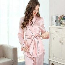Sexy Silk Pajamas Female Autumn 100% Natural Long-Sleeved Pajama Pants Sets Sweet Lace Elegant Lady Sleepwear T8010