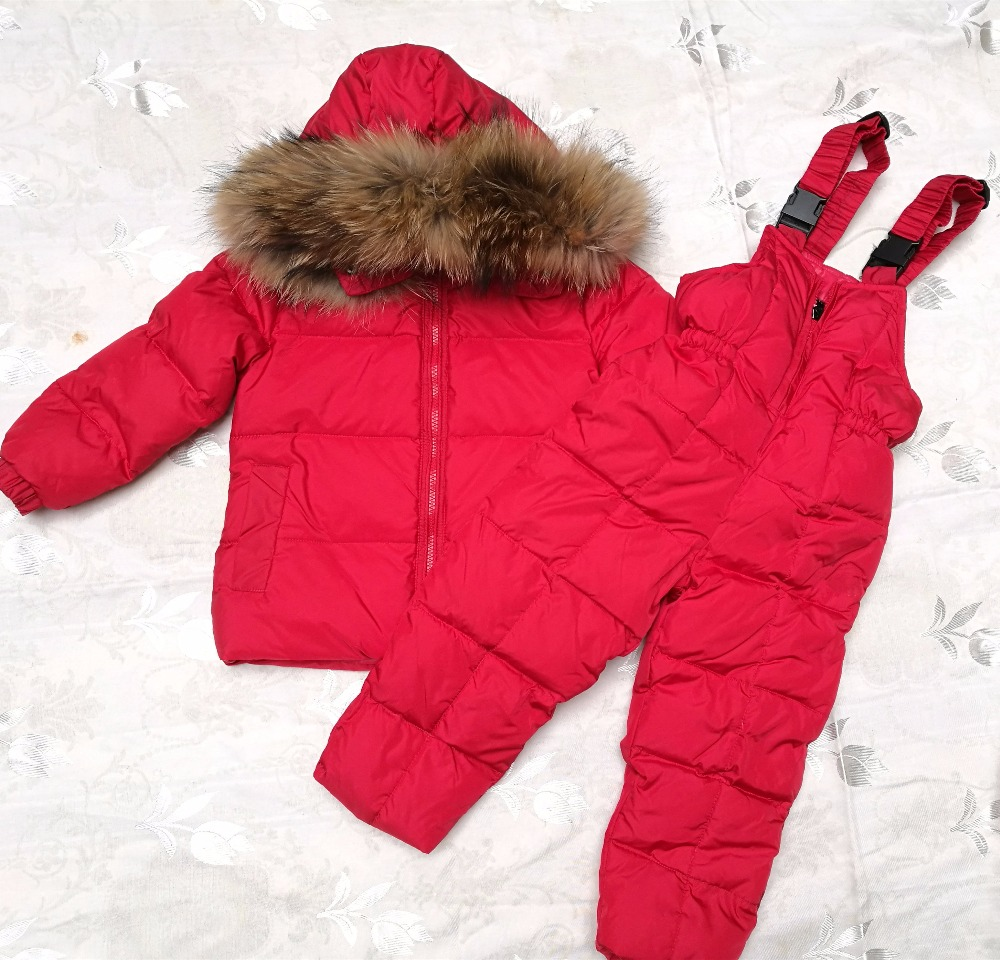 Childrens winter girl suit Ski Wear -30 degree Russian Boys Ski Sports Down Jacket Set Winter Suit Thicker
