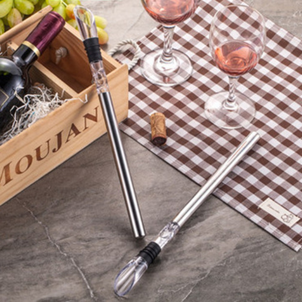 Rushed Ice Bucket Stainless Steel Barware Wine Pourer With Chill Rod Bottle Coolers Chiller Stick Spout Aerator Hot Sale