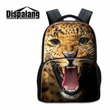 Dispalang животного Колледж ноутбука Рюкзаки леопард, тигр, Лев узор Школьные сумки для подростков Fashion Day Pack для Для мужчин Mochilas