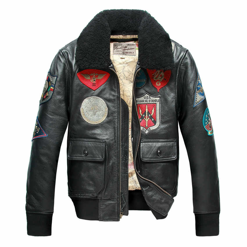 67ce532c02c ... Avirex fly fur collar genuine leather jacket men brown thick sheepskin  flight jacket black men s winter ...