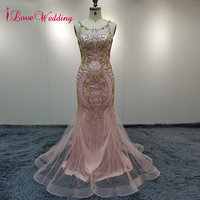 Real Photo Plus Size Custom Mermaid Evening Dresses Luxury Rhinestone Dubai Long Pink Crystal Beaded Formal Party Evening Dress