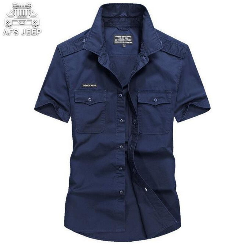 AFS JEEP Classical Design Summer 2017 Short Sleeve Cargo shirt for Man,Wholesale Price Turn Down Collar Solid Military Shirt Man