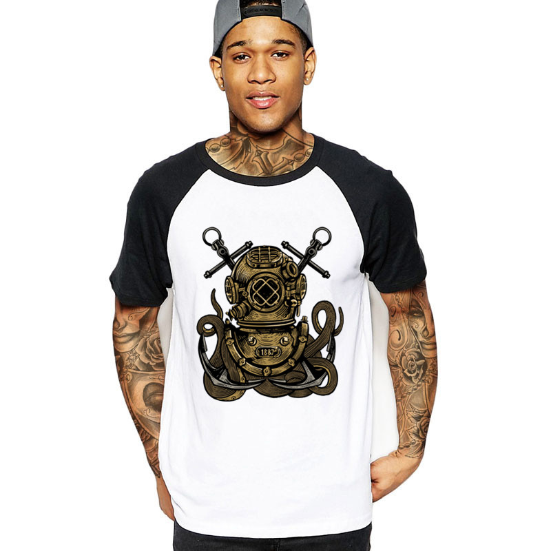 2018 Fashion Diver Octopus Diving Men's Streetwear T Shirts Custom Brand Logo Black Cotton Male Tshirt Big Over Size 3xl T-shirt