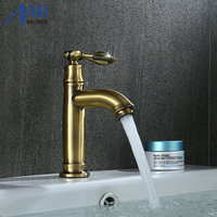Amibronze Single Cold Faucet Antique Bronze Operation Bathroom Basin Faucets Kitchen Brass Crane