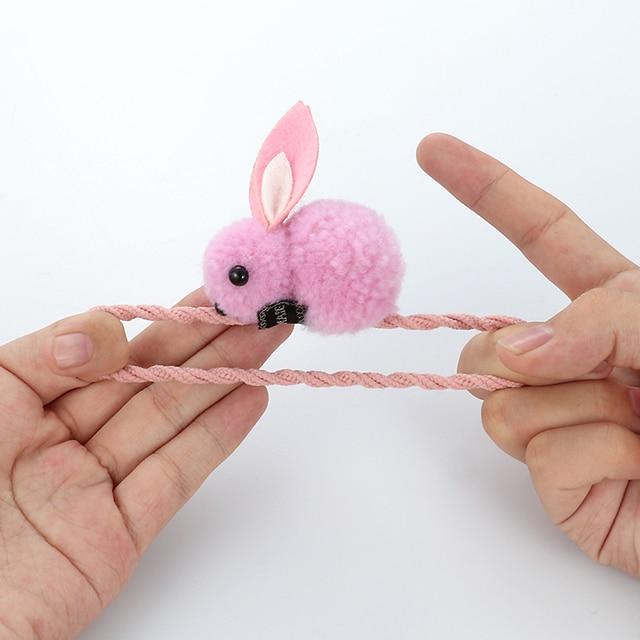 Cute animal hair ball rabbit hair ring rubber elastic bands Korean children hair Accessories 3