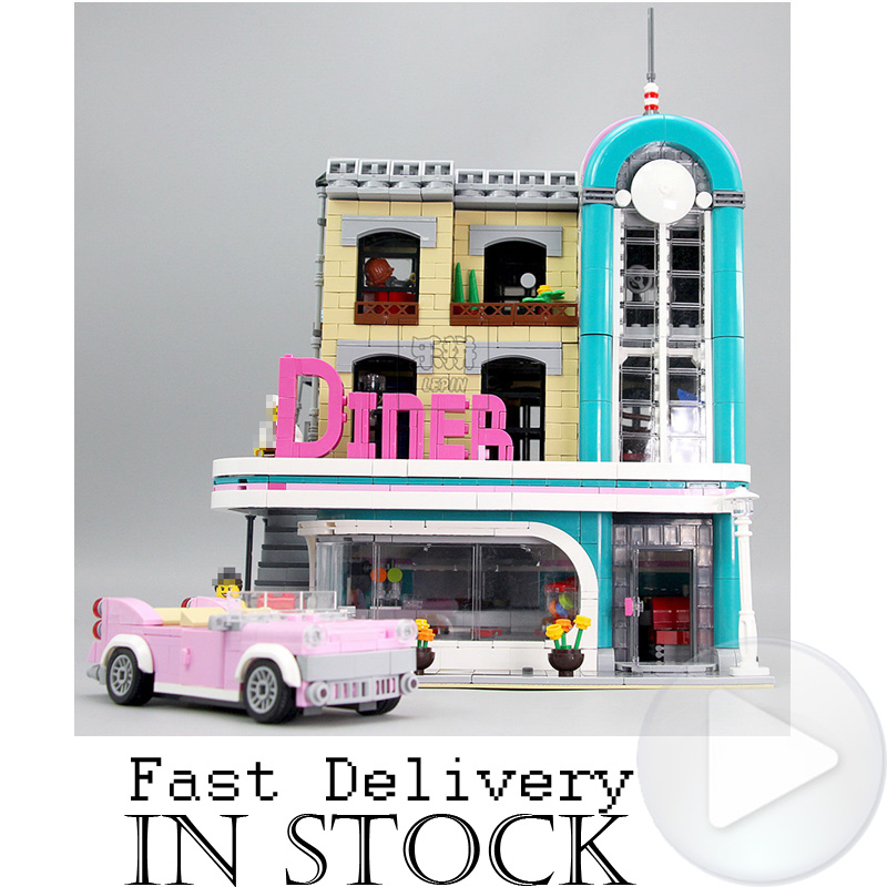 LEPIN 15037 Downtown Diner Street View Creator Building Blocks Bricks Toys Enlighten For Boys oyuncak Compatible with legoINGly a toy a dream lepin 15008 2462pcs city street creator green grocer model building kits blocks bricks compatible 10185