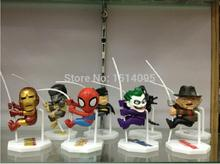 8pcs set Superheroes Q Version Spider man Batman Alien Joker Predators Freddy Jason PVC font b