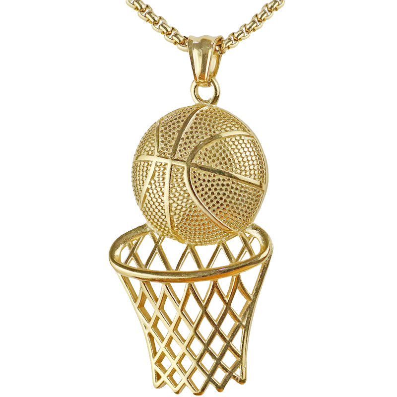 Basketball Hoop Pendant Necklace Men Long Chain Necklace Gifts Sports Hip Hop Couple Jewelry