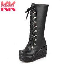 KemeKiss/большой размер 31-43,, ботинки для костюмированной вечеринки в стиле панк женские зимние вечерние туфли на платформе женские сапоги до колена на высоком каблуке