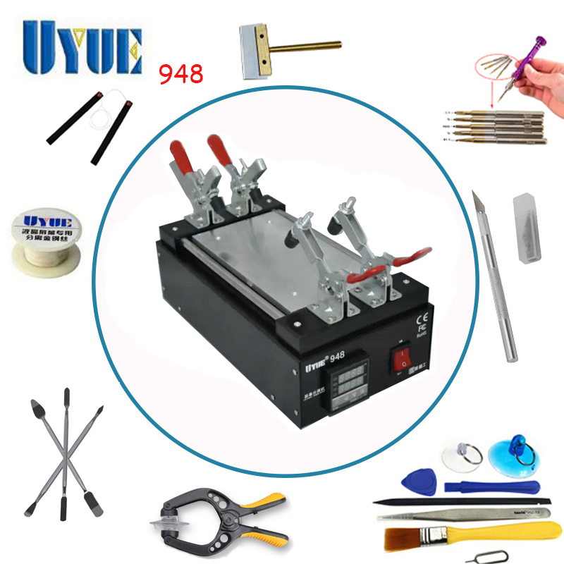 UYUE 7 inch LCD Hand tool Repair Split Machine Black Metal Touch Glass Panel Screen Separator for Mobilephone 948 9 6 inch newest uyue 946s lcd separator screen assembly preheating station machine for mobile phone repair