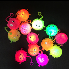 Купить с кэшбэком 100pcs/lot Led bouncy balls soft rubber glowing smile ball mix color flash luminous jump fluffy ball toys for party supplies