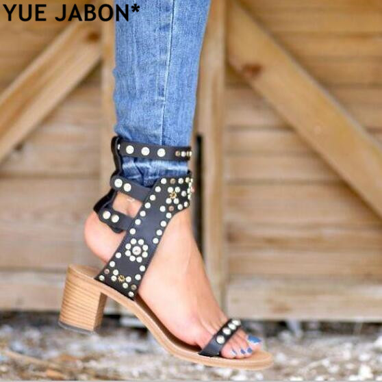 YUE JABON Top Quality Casual Street Style Buckle Strap Gladiator Sandals Stud Rivets Open Toe Women Pumps Size 35-41 Rome Sandal