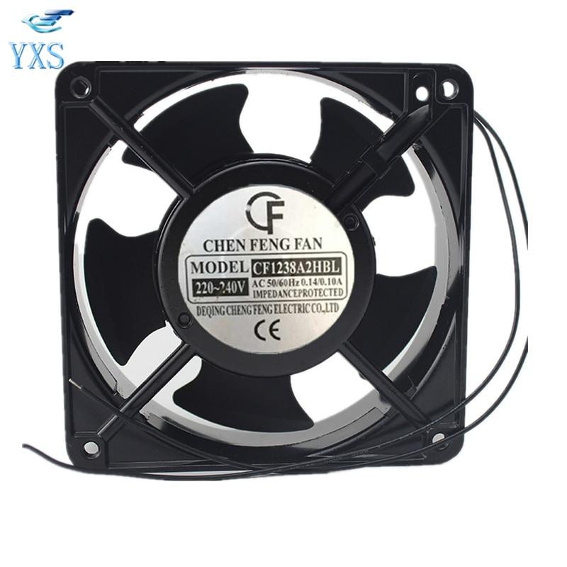 CF1238A2HBL AC 220V-240V 0.14A/0.1A 50/60HZ 12038 12CM 120*120*38mm Silent Cabinet Chassis Cooling Fan delta qfr1212ehe 120mm 1238 12038 12cm 12 12 3 8cm 120 120 38mm fan 12v 1 5a cooling fan
