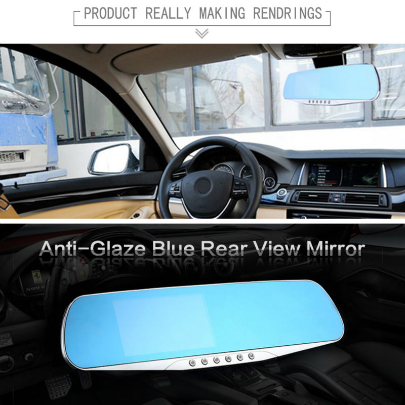 Dual Camera Full HD 1080P Car DVR Black Box Rearview Mirror with Reverse Rear View Parking Camera Motion Detector G Sensor 3