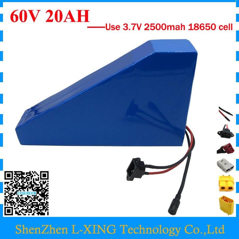 Livraison douane 1500 W 60 V 20AH Triangle batterie 60 V au lithium ion vélo électrique batterie 20AH avec BMS livraison sac 67.2 V 2A Chargeur