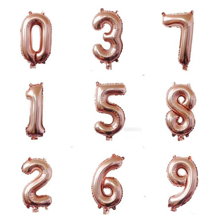 1pcs Rose Gold Silver 16inch A-Z letter 0-9 Number Foil Balloons Brithday Party Decorations Kids gift Helium Air Balloon Supplie