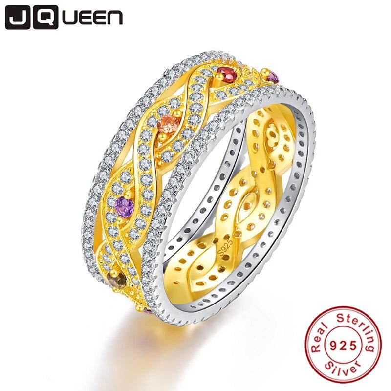 JQUEEN naturel améthyste et Citrine anneaux de mariage or infini amour 925 en argent Sterling pour les femmes bijoux fins avec boîte-cadeau