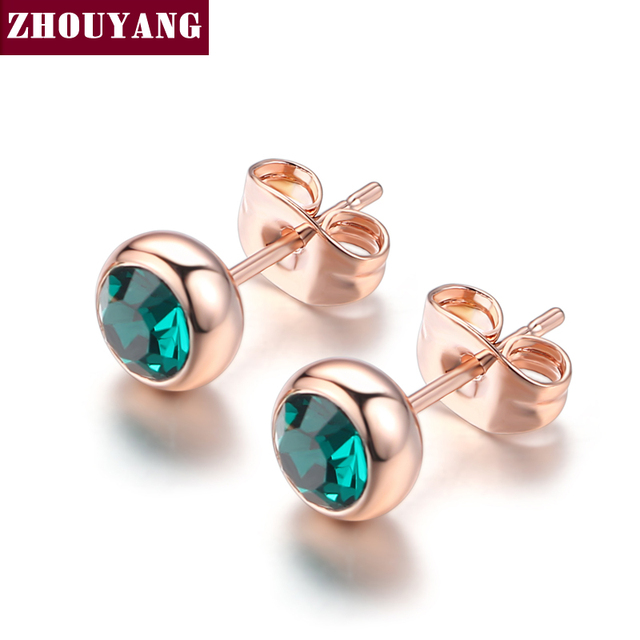 Simple Green Crystal Ol Style Rose Gold Color Stud Earrings Colorful Gift For Women And Men