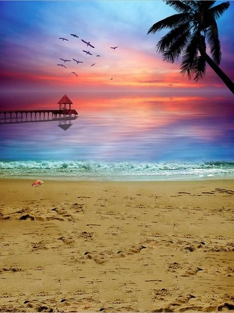 Vinyl scenic photography backdrops 5 x 8 ft sea beach for photo