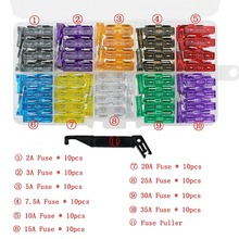 100Pcs car motorcycle Blade Fuse Kit 2A 3A 5A 7.5A 10A 15A 20A 25A 30A 35A with FUSE PULLER Dimensions 19x5x18.5mm