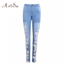ArtSu Sexy Lace Jeans Hollow Out Ladies Slim Denim Pants Jeans Mujer Elasticity Mid Waist Pencil Pants Holes Clothing ASPA50007