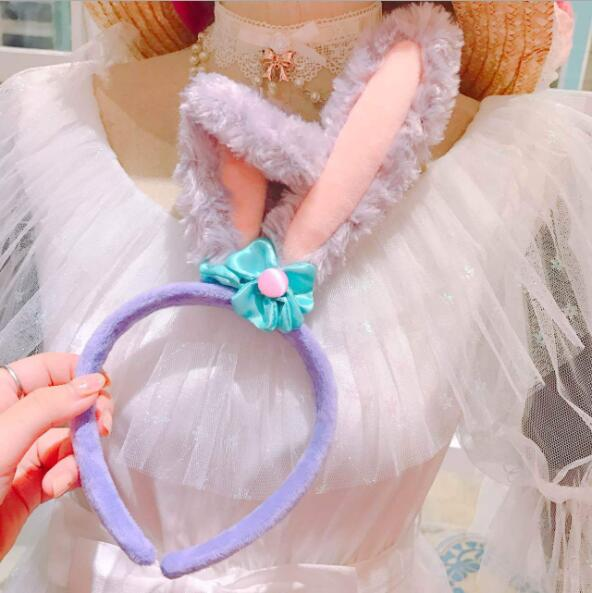 Kawai Cartoon Stellalou Rabbit Ear Duffy Soft Plush Hear Hoop Wearing Headband Long Ear Animal Girl Children Girl's Gift