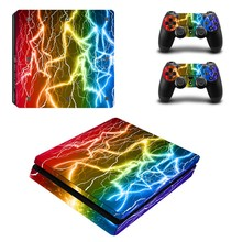 Için renkli vinil PS4 ince Sticker Sony Playstation 4 Slim konsol + 2 denetleyici cilt Sticker için PS4 S cilt ZY 0017