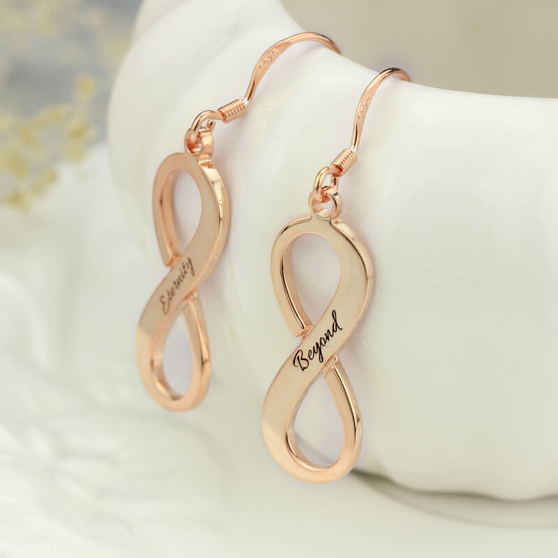 Engraved Rose Gold Plated Infinity Earrings