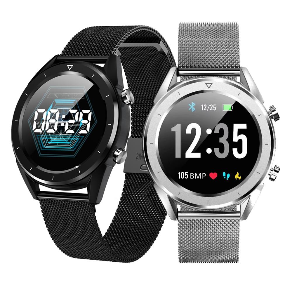 DT28 hombres reloj inteligente IP68 impermeable ECG de Monitor de presión arterial Fitness Tracker inteligente deporte pulsera inteligente