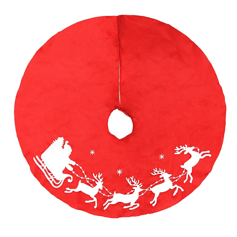 Christmas Skirt.Us 3 18 35 Off 100cm 39 5inch 1pc New Lovely Red Christmas Tree Skirt Sled Reindeer And Snowflakes Cover Base Decoration Xmas Tree Cover Decor In