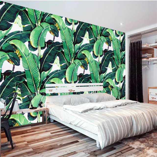 beibehang personnalis papier peint 3d de style europ en vintage main peint plantes de la for t. Black Bedroom Furniture Sets. Home Design Ideas
