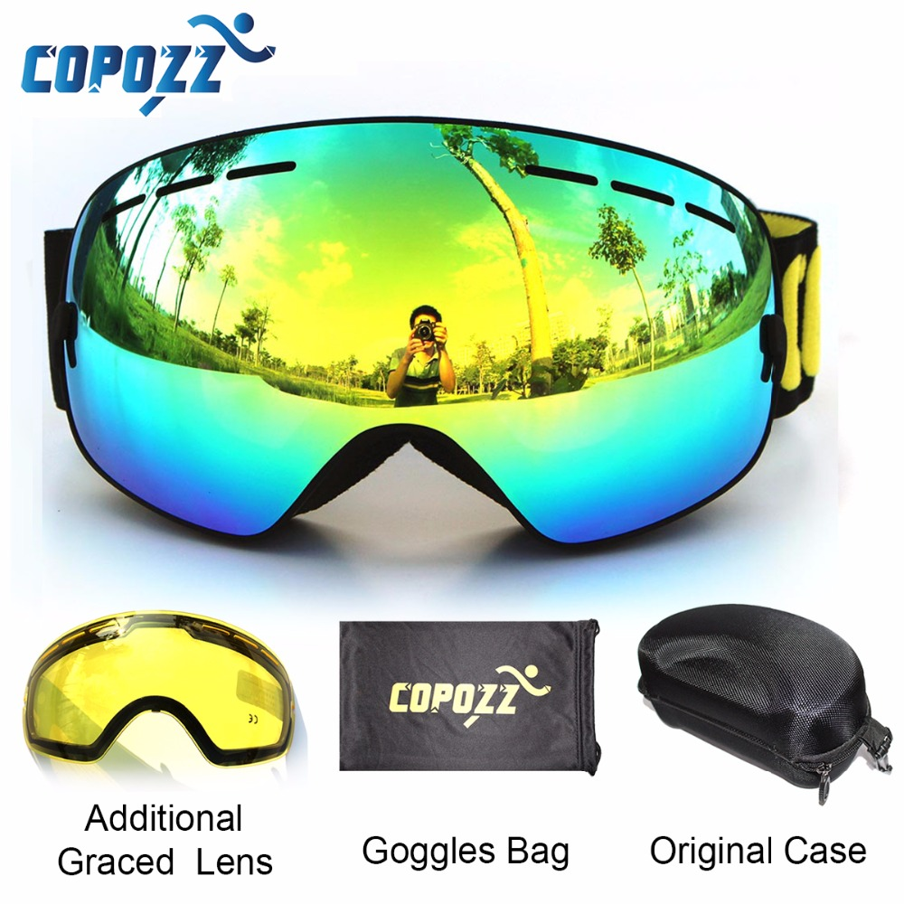 COPOZZ brand ski goggles 2 double lens anti-fog UV400 big large spherical snowboard glasses men women skiing snow goggles Set polisi winter snowboard snow goggles men women double layer large spheral lens skiing glasses uv400 ski skateboard eyewear